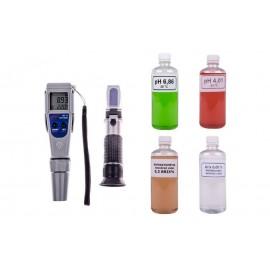 Cefrekészlet: pH mérő és cukortartalommérő refraktométer